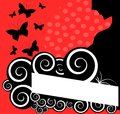 Abstract banner with woman and butterflies image representing a decorated fantasy a silhouette of Stock Image