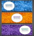 Abstract banners set with colorful pixel background. Party invitation design template. Vector