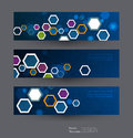 Abstract banners set with image of science innovation concept.