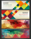 Abstract Banners set. Polygonal geometric and colorful squares. Background with different design elements. Vector Royalty Free Stock Photo