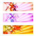 Abstract banners set of three colored Stock Photography