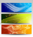 Abstract banners set of three different on bright surface Royalty Free Stock Photo
