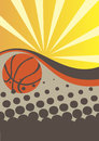 Abstract basketball poster with sun rays Royalty Free Stock Photo
