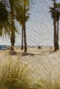 Abstract beach shot through window screen with palm trees and grass Stock Photo