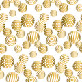 Abstract beads seamless pattern in gold xmas color. Royalty Free Stock Photo