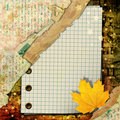 Abstract beautiful background in the style of mixed media with autumn leaves Royalty Free Stock Photo