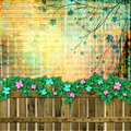 Abstract beautiful background in the style of mixed media with floral ornament Stock Photos