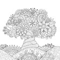 Abstract beautiful tree for design element and adult coloring book page.