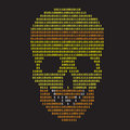 Abstract binary skull on black background Stock Photo