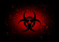 Abstract  biohazard symbol dark red background Royalty Free Stock Photo