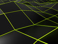Abstract black background with bright green lines