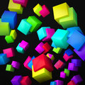 Abstract black background made of color cubes Royalty Free Stock Image