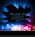 Abstract black background with neon leaves Royalty Free Stock Photo