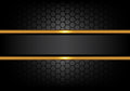 Abstract black gold line banner on hexagon mesh pattern design modern luxury background vector
