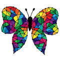 Abstract black line isolated butterfly