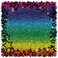 Abstract black star on rainbow background Royalty Free Stock Photo