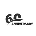 abstract black 60th anniversary logo on white background. 60 number logotype. Sixty years jubilee celebration Royalty Free Stock Photo