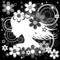 Abstract black and white background with woman profile flowers a circles stars Royalty Free Stock Photo