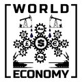 Abstract black and white poster world economy. Silhouettes of gear mechanism with symbols of world currencies, gold and silver. Royalty Free Stock Photo