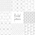 Abstract black and white simple geometric seamless patterns set, vector Royalty Free Stock Photo