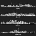 Abstract black and white skylines of Tokyo, Seoul, Sydney and Auckland.