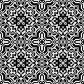 Abstract black and white tiled pattern, Floral tile texture background, Retro seamless illustration Royalty Free Stock Photo