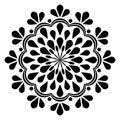 Decorative ornament in ethnic oriental style. Circular pattern in form of mandala for Henna, Mehndi, tattoo, decoration.