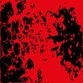 Abstract blood image. Splatter in red ink color on black backgro