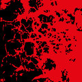Abstract blood image. Splatter in red ink color on black background. Vector