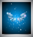 Abstract blue background with glass  wings. Royalty Free Stock Photo