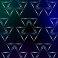 Abstract blue background with shining multicolored triangles and lights Royalty Free Stock Photos