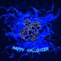 Abstract blue background with skulls and the words Happy Halloween. Royalty Free Stock Photo
