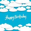 Abstract blue background sky white clouds happy birthday card Stock Image