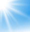 Abstract Blue Background with Sun Rays Royalty Free Stock Photo