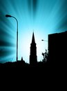 Abstract blue background in town with sunset Royalty Free Stock Photo