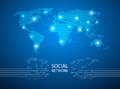 Abstract blue background with world map, internet line connected Royalty Free Stock Photo