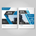 Abstract blue black annual report Leaflet Brochure Flyer template design, book cover layout design Royalty Free Stock Photo