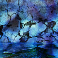 Abstract blue and black background with cracked rock, shadow and water resembling an undersea cave Royalty Free Stock Photo