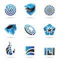 Abstract blue and black Icon Set Royalty Free Stock Photography