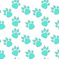 Abstract blue cat footprint in turquoise outline on white background.