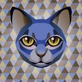 Abstract blue cat on a rhombus background poster geometric Royalty Free Stock Images