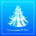 Abstract blue christmas tree background vector illustration Royalty Free Stock Images