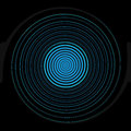 Abstract blue circle on black background Stock Image