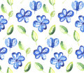 Abstract blue color floral seamless pattern. Royalty Free Stock Photo