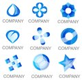 Abstract blue company logo set icons Photos stock