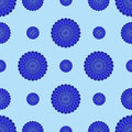 Abstract blue flowers on a blue background