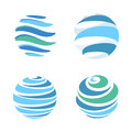 Abstract blue global planet stripped vector logos template set. Rotating blue strips, circular planet in motion around