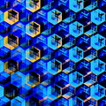 Abstract Blue Hexagons Background. Modern Hexagonal Color Illustration. Geometric Art Texture.