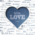 Abstract blue jeans heart Royalty Free Stock Images