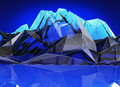 Abstract blue mountain landscape in polygonal, 3d Illustration